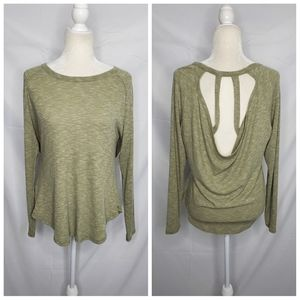 KISMET long sleeve ribbed open strappy back shirt